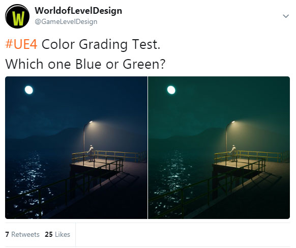 UE4 Color Grading Test: Green or Blue?