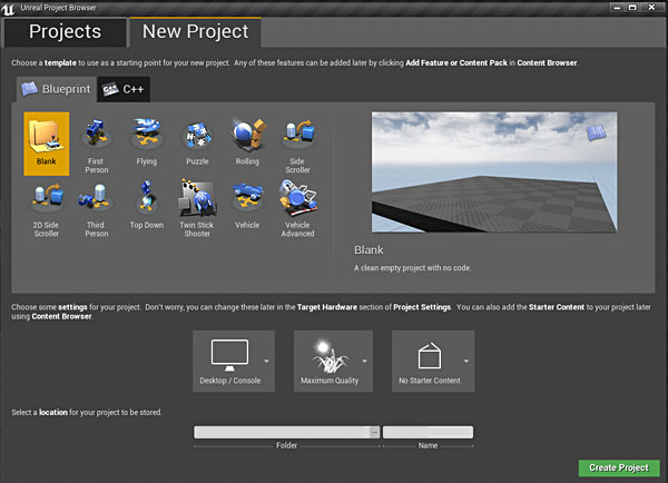 Ue4 how to create start and open your first new project how do you openlaunch unreal engine 4 editor malvernweather Gallery