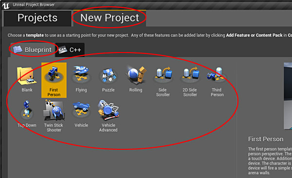 Ue4 27 step crash course to getting started with unreal engine 4 choose a game template to use you can choose fps third person or any other available templates malvernweather Images
