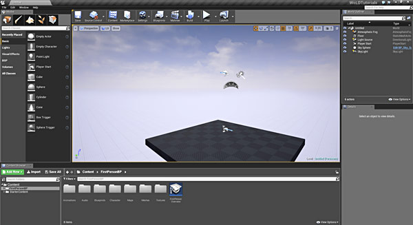 Ue4 27 step crash course to getting started with unreal engine 4 default template gives you few necessary actors to start with such as a ground plane light source directional light and skylight player start malvernweather Images