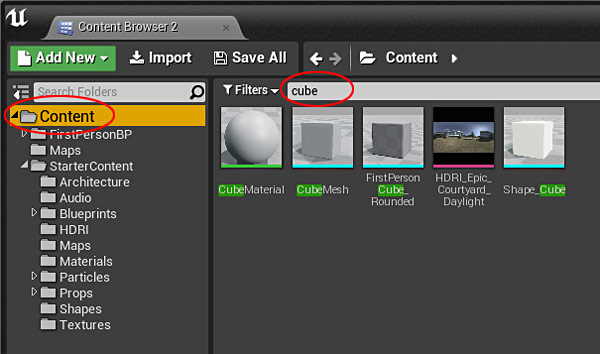 Ue4 27 step crash course to getting started with unreal engine 4 to search and to filter the entire directory of your project make sure to select the content folder this way you are searching everything within that malvernweather Images
