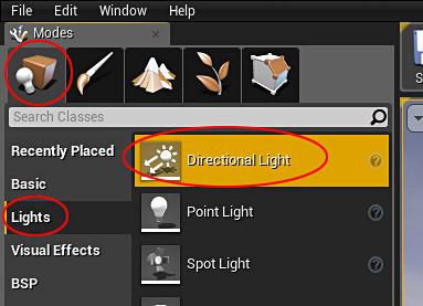 Ue4 27 step crash course to getting started with unreal engine 4 left mouse click and drag directional light into perspective viewport malvernweather Images