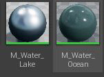 "2 water material examples in ""Starter Content"""