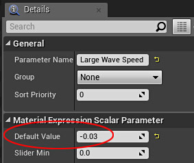 Large Wave Speed Parameter default value -.03