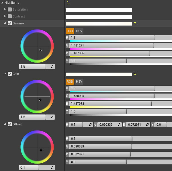Post Process Color Grading options